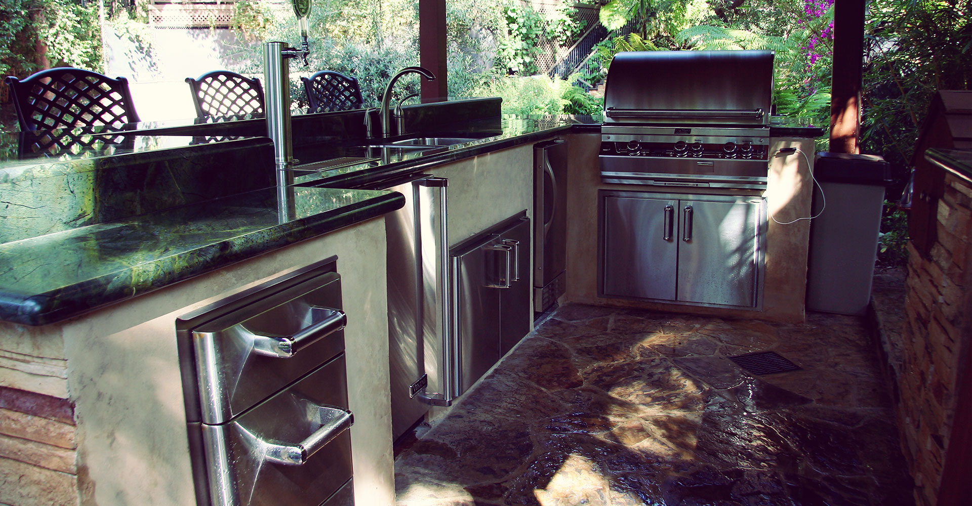 Outdoor kitchens grilling sherman oaks landscape designer for Outdoor kitchen without grill